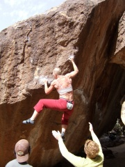Getting my climb on in Hueco Tanks in Texas post chemo!